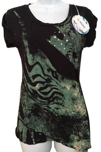 Anama Screenprint Drape Sequins Wrap Tie Dye T Shirt Black