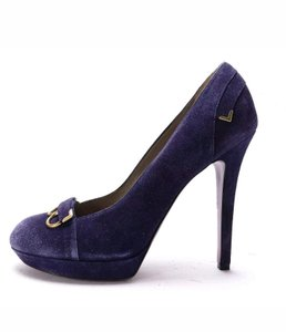 Versace Suede Platform Pump Purple Pumps