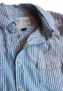 JOE'S Casual Longsleeve Button Down Shirt Blue and White Striped