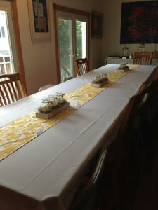 8 Yellow And White Table Runners