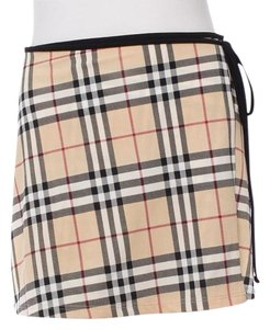 Burberry Nova Check Plaid Monogram Mini Skirt Beige, Black