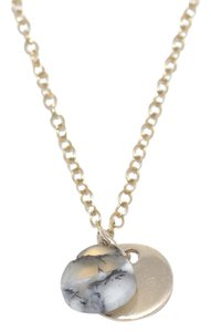 Mei Mei Gold Faceted Dendritic Opal Gemstone Charm Delicate Necklace