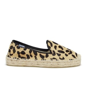 Soludos Horsehair Smoking Slippers Espadrille Leopard Flats
