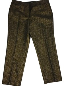 Ann Taylor LOFT Straight Pants Black and Gold