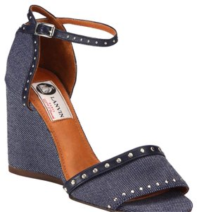 Lanvin studded denm wedge Dark blue denim Wedges