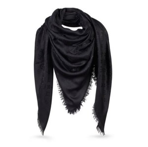 Louis Vuitton NEW Monogram Black Silk Wool Shawl Scarf Louis Vuitton NEW Monogram Black Silk Wool Shawl Scarf