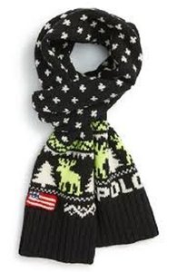 Ralph Lauren Blue Label Ralph Lauren Polo Reindeer Flag Wool Scarf NWT $198.00 Black Sweater