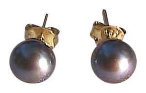 14k Yellow Gold Tahitian Cultured Pearl Stud Earrings (#1)