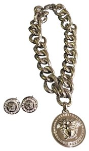 Versace Oversized Medusa Necklace and Earring Set