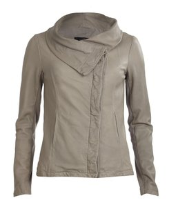AllSaints Kadian Lambskin Leather Taupe Leather Jacket