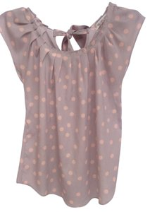 LC Lauren Conrad Polka Dot Back Bow Top Light Gray and Pink