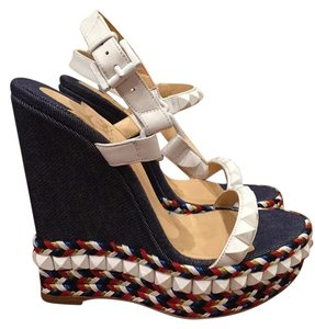Christian Louboutin Cataclou Stud Stiletto Denim Spike blue Wedges