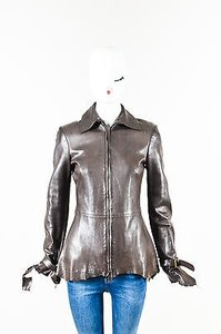 Alexander McQueen Leather Raw Edge Buckle Strap Long Sleeve Brown Jacket
