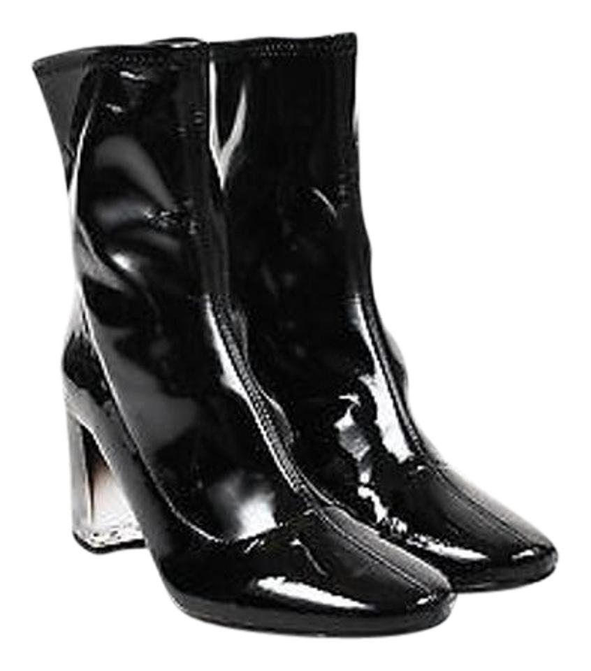 Zara Black Patent Leather Ombre Lucite Heel Mid Calf Boots