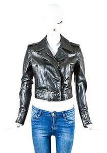 Belstaff Leather Zip Up Quilted Long Sleeve Cropped Moto Motorcycle Jacket