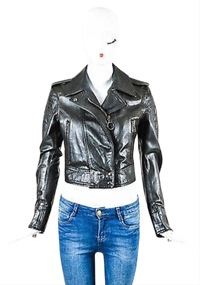 18bb71d35 Belstaff Black Leather Zip Up Quilted Long Sleeve Cropped Moto Jacket