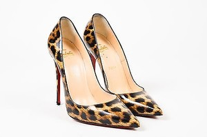 Christian Louboutin Christian Leopard Patent Pointed Brown, Black Pumps