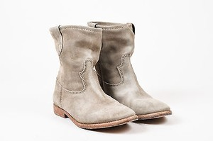 Isabel Marant Light Suede Almond Toe Ankle Gray Boots