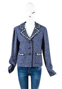 St. John St. John Navy Blue Tweed Sequin Bead Embellished Blazer Jacket