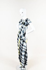 Multi-Color Maxi Dress by Stella McCartney White Navy Knit Plaid Collared Ss Maxi