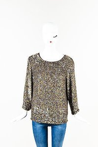 3.1 Phillip Lim Brown Sequin Top Gold