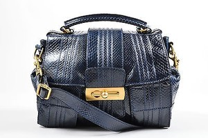 Escada Navy Snakeskin Handbag With Strap Satchel in Blue