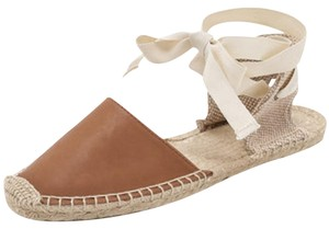 Soludos Leather Gladiator Ribbon Jute Ankle Tan Sandals