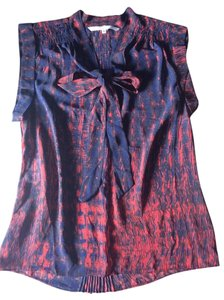 Rachel Roy Pleated Front Bow Top Red and Navy Blue