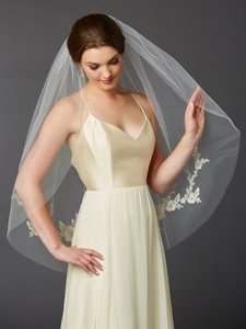 Mariell Gold and Silver Medium Embroidered Floral Lace Fingertip Bridal Veil