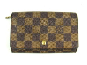 Louis Vuitton Porte Monnaie Tresor Damier Canvas Leather Clutch Wallet