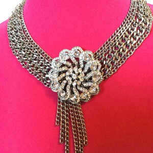 Other 2 Pc Bib Chain Necklace and Bracelet | Crystal + Rhinestone Flower