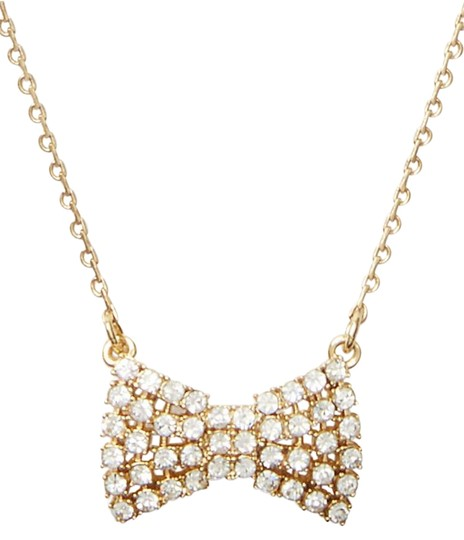 Kate Spade Pearl Bow Necklace: Kate Spade Gold Sparkling Bow Mini Pendant O0ru1458