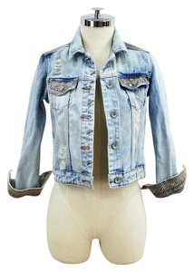 Zara Embroidered Distressed Cropped Denim Womens Jean Jacket