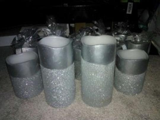 Grey Glitter Flameless Votive/Candle