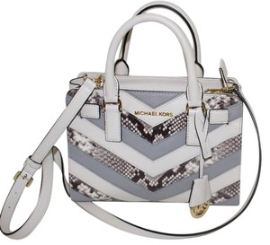 Michael Kors Leather Small Satchel in Ecru/Natural