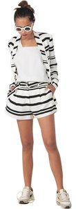 Finders Keepers Belt Striped Dress Shorts Black and white