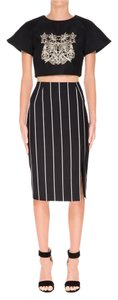 Keepsake the Label Midi Striped Vertical Skirt Black and white