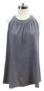 Barneys Co-Op Halter Silk Charmeuse Top Grey