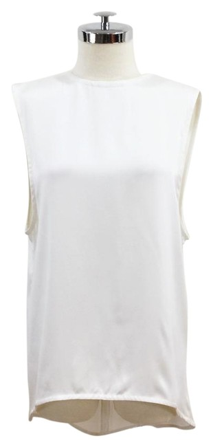 Item - White Silk Muscle Tank Crew Neck and Exaggerated Arm Holes Blouse Size 6 (S)