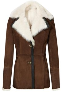 Reiss Brown shearling Leather Jacket