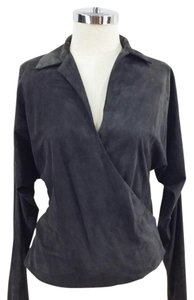 Ralph Lauren Black Label Dolman Wrap Suede Collar Top Dark Grey / Brown