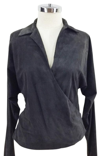 Ralph Lauren Black Label Dark Grey / Brown Suede Collared Wrap Shirt with Dolman Sleeves Blouse Size 2 (XS) Ralph Lauren Black Label Dark Grey / Brown Suede Collared Wrap Shirt with Dolman Sleeves Blouse Size 2 (XS) Image 1