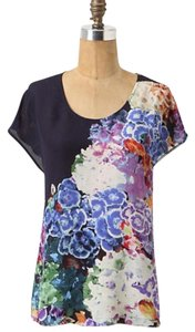 Anthropologie Silk Maeve Floral Top Multi