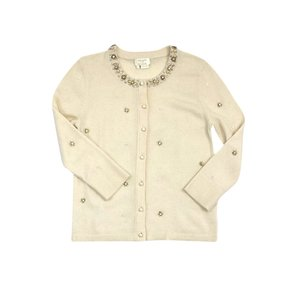 Kate Spade Cream Wool Beaded Cardigan