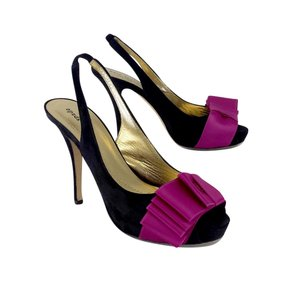 Kate Spade Black & Magenta Peep Toe Sandals