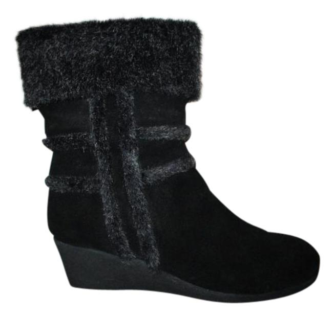 Item - Black Suede with Faux Fur Trim Med Calf Boots/Booties Size US 8.5 Regular (M, B)