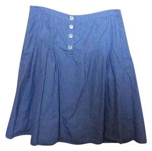 J.Crew Striped Cotton Knee Length Skirt Blue, white and navy