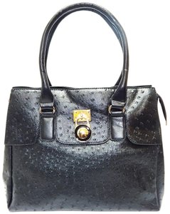 Vecceli Italy Faux Leather Satchel Tote in BLACK