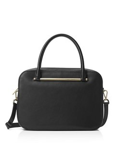 Michael Kors Mk Leather Satchel in Black