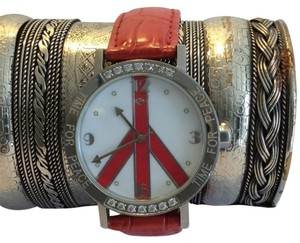 Time for Peace by Udi Behr Time for peace red watch w/ crytsals